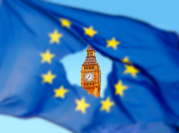Flag of EU with Big Ben in thehole